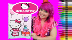 We provide hello kitty coloring sheets you can print at home! Hello Kitty Valentine S Day Giant Coloring Book Crayola Crayons Coloring With Kimmi The Clown Youtube