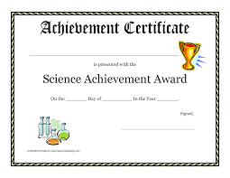 Printable Achievement Certificates Free Science Achievement Award Certificate Templates At