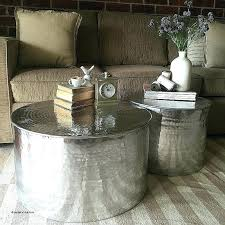 hammered coffee table freedom drum elegant 2 x metal round side tables aluminium canada