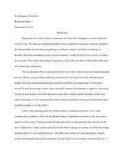 reflection essay one psychological disorders reflection paper  this is the end of the preview sign up to access the rest of the document unformatted text preview psychological disorders