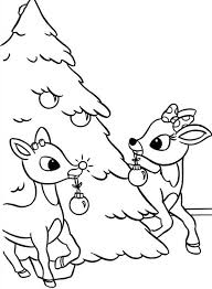 Small Picture Rudolph and Clarice Decorated Christmas Tree Coloring Page