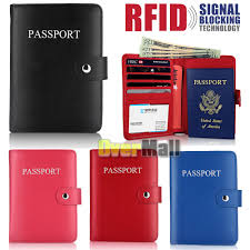 details about rfid blocking leather passport holder case cover wallet for securely travel trip