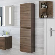bathroom wall mounted storage cabinets. 1400mm Walnut Tall Wall Mounted Cabinet - Trent | BathEmpire Bathroom Storage Cabinets E