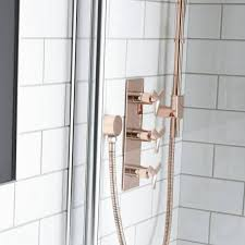 close up photo of heritage hemsby rose gold shower with deluxe fixed head flexible kit