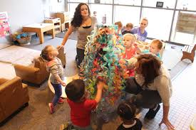 toddlers at um flint s early childhood development center creating their chihuly inspired chandelier