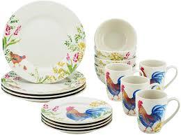 Mcleland Design 32 Pc Stoneware Dinnerware Sets Paula Deen Dinnerware Garden Rooster 16 Piece Stoneware Dinnerware Set Print 59965
