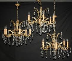 three vintage french chandeliers 3 brass glass ceiling lights ref aju28