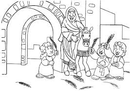 Small Picture Cartoon of Jesus Entrance in Palm Sunday Coloring Page Color Luna
