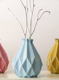 Small Picture Geometric vase White ceramic vase Origami inspired flower