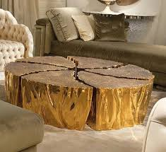 furnitures unique golden reclaimed tree trunk coffee table near tufted sofa unique and antique reclaimed