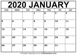 Plain Calendar 2020 January 2020 Printable Calendar 123calendars Com