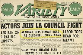 a 1943 cover of variety magazine announcing the appointment of margaret herrick as the new