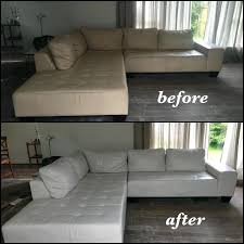 leather dye for sofa off white leather sectional color changed to bright white before and after