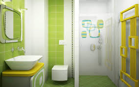 Beautiful Green Bathroom Theme With White Color Accent - Yellow and white bathroom