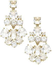 dreaded spade new earrings gold tone clear glass chandelier earrings image inspirations