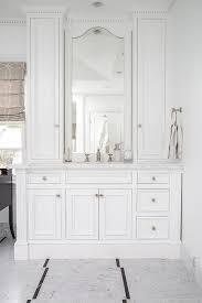 Arch Inset Vanity Mirror Transitional Bathroom Custom Inset Bathroom Cabinets Interior