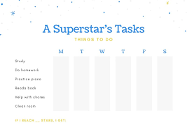 Superstar Weekly Reward Chart White With Blue And Yellow Illustrated Stars Reward Chart