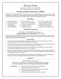 Resume Templaye Emt Resume Sample Monster Com
