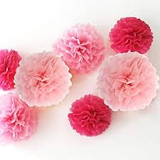 Paper Flower Tissue Paper Hazoulen 12 Piece Tissue Paper Flower Pom Poms For Decorations 10 Inch 12 Inch 14 Inch Pink Pink