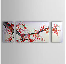 cherry blossom red plum flowers modern canvas art wall decor floral oil painting wall on plum flower canvas wall art with cherry blossom red plum flowers modern canvas art wall decor floral