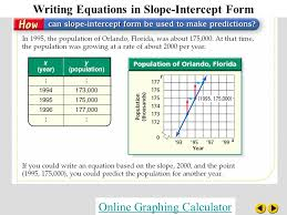 1 writing equations in slope intercept form graphing calculator