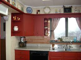 painted red furniture. Furniture Display Storage Above Wooden Cabinet Painted With Red Color And Marble Countertop Plus Stainless Steel Sinks Under Window Fabric Curtains K