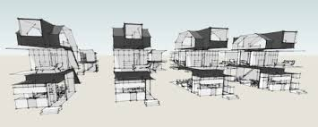 Modern House Plans by Gregory La Vardera Architect  Row house    The nature of the Transverse Stair is that it divides the floor plate into two halves  This works well on the bedroom floors  however on the living floor it