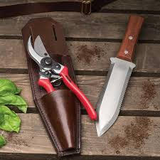 leather holster hand pruner digging knife set by garrett wade