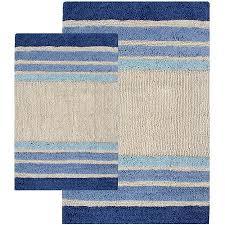 get ations 2 piece tuxedo stripe bath rug set blue