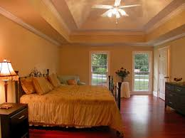 Bedroom:Outstanding Bedroom Design With Ceiling Mounted Fan Bed And Yellow  Wall Paint Idea Ceiling