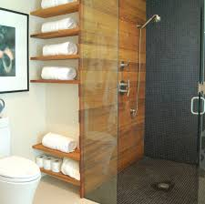 distressed wood shelves bathroom modern with wood paneling mosaic tile