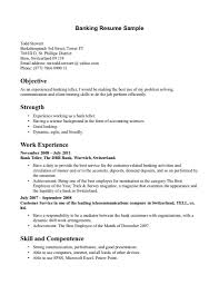 Resume For A Bank Job Sample Resume For Banking Job