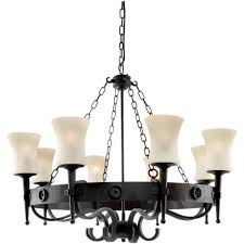 cartwheel 8 light rustic wrought iron ceiling fitting with scavo glass shades