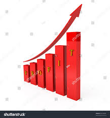 Royalty Free Stock Illustration Of Red Columns Word Profit Graph