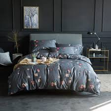 dark grey quilt cover set fl bedding set 60s egyptian