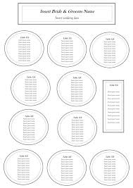 sample wedding seating chart circle template 8 person round table
