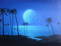 palm trees painting peaceful moonlit night by michael odom