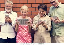 Use Tablet As Phone Senior Adult Use Tablet Mobile Phone Stock Photo Edit Now