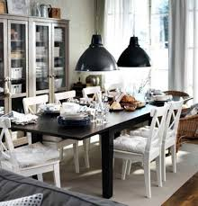 casual dining room lighting. Casual Dining Room Design With Extendable Dinner Table Ikea, White Chairs And Lighting