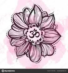 руки Drawn ом символ индийский дивали духовной знак ом цветок