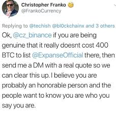 Btc Quote New Cryptowhispers Binance Token Listing Quote 48 BTC 4848 Million