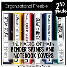 Binder And Spine Magic Of Math 2nd Grade Binder Spines Tabs And Notebook Covers By