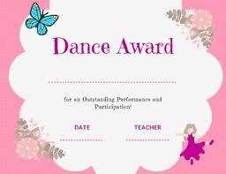 Dance Award Certificate Dance Award Certificate
