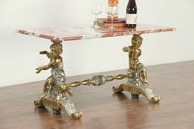 marble top coffee or cocktail table gold silver leaf cherub italy 28912