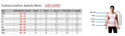 size 46 jacket in us size charts for leather garments
