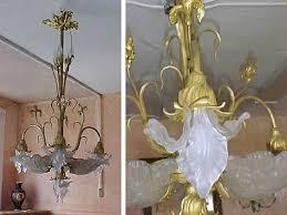 french art nouveau bronze d ore chandelier for