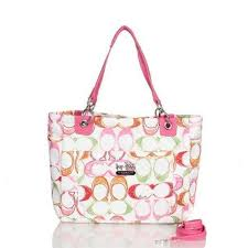 Coach Poppy In Monogram Large Pink Totes BWW Outlet Online