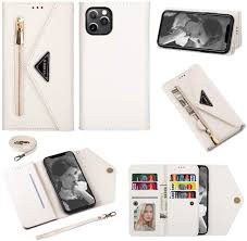 Amazon.com: Crossbody Case for Apple iPhone 12 Pro Max 6.7 inch Zipper  Leather Wallet Case, Wrist Strap Flip Case Bumper Cover Lanyard Case for  Women Girls