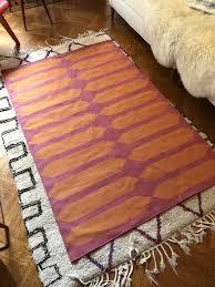 madeline weinrib cotton flatweave indian rug carpet pink and orange amagansett