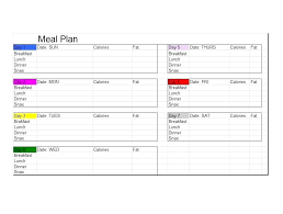 Weight Loss Menu Planner Template Daily Menu Planner Template